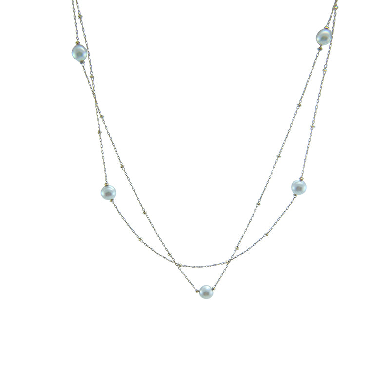 18k Gold With Akuya Pearl Two-way Necklace