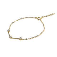 Twist with stones Sterling Gold Bracelet