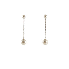 Mini Pearl With Long Chain Big Pearl Pierced Earrings