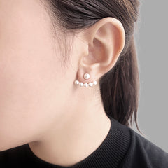 One pearl with 5 Pearls On Handing Curved Bar Sterling Silver Studs
