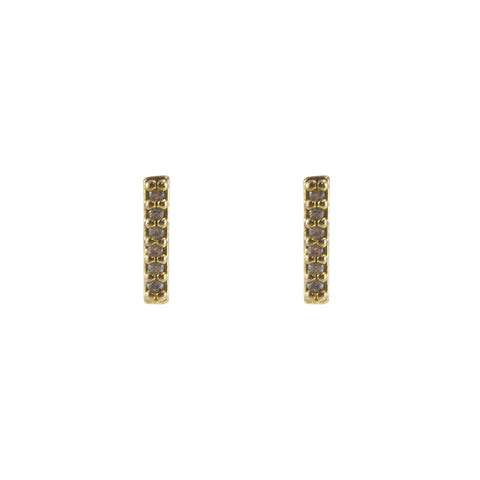 CZ Bar (0.8cm) Gold Sterling Silver Studs