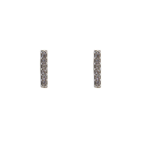 CZ Bar (0.8cm) Sterling Silver Studs