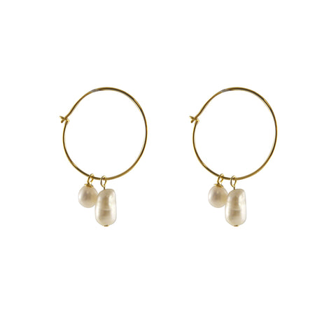 Creamy Stone Gold Sterling Silver Circle Earrings