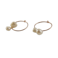 Creamy Stone Rose Gold Sterling Silver Circle Earrings