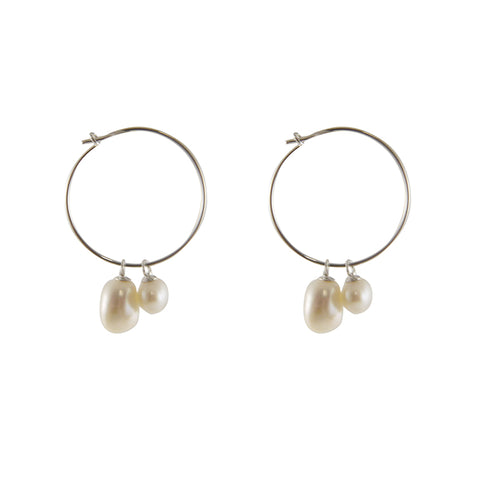 Creamy Stone Sterling Silver Circle Earrings