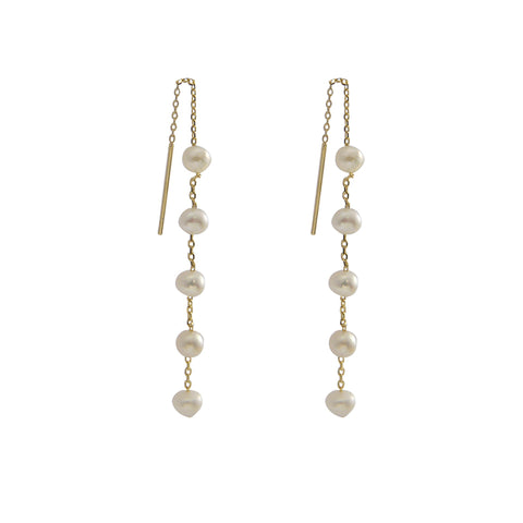 Mini Pearls Sterling Silver Gold Pull-Thru Chain Earrings
