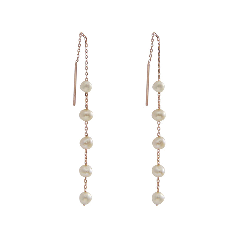 Mini Pearls Sterling Silver Rose Gold Pull-Thru Chain Earrings