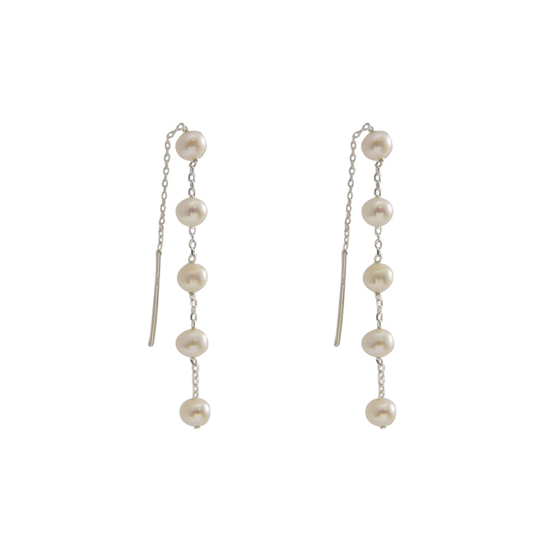 Mini Pearls Sterling Silver Pull-Thru Chain Earrings