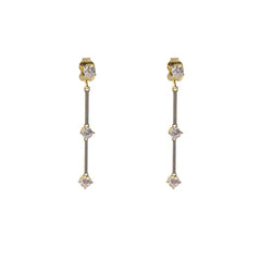 Bar with Clear crystal Gold Sterling Silver Pull-Thru Chain Earrings