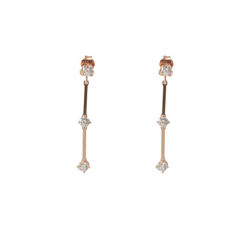 Bar with Clear crystal Rose Gold Sterling Silver Pull-Thru Chain Earrings