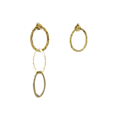 4 Ovals Sterling Silver Pull-Thru Chain Earrings