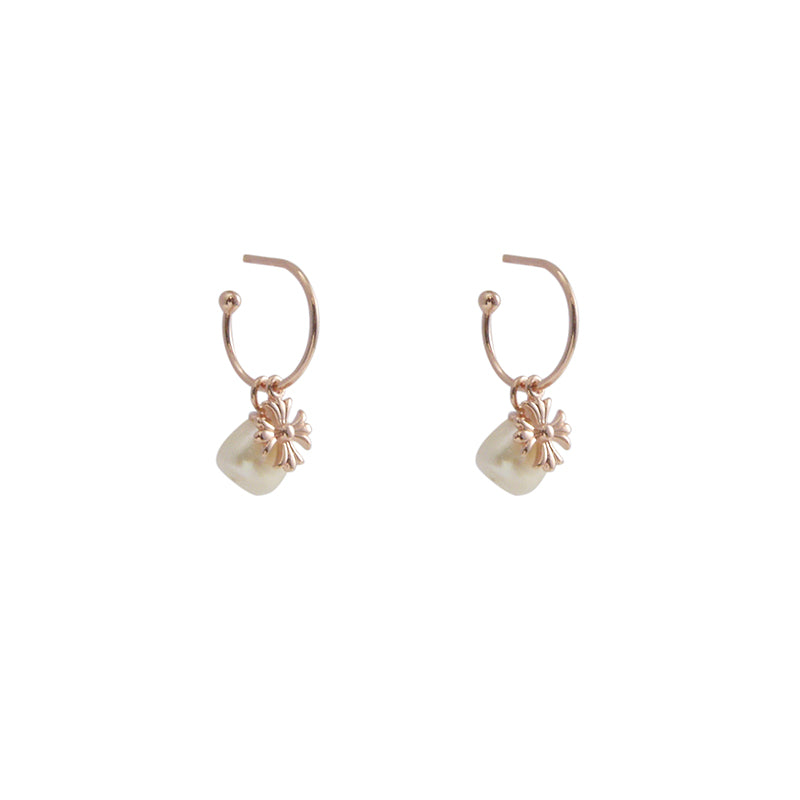 A Pearl Rose Gold Sterling Silver Studs