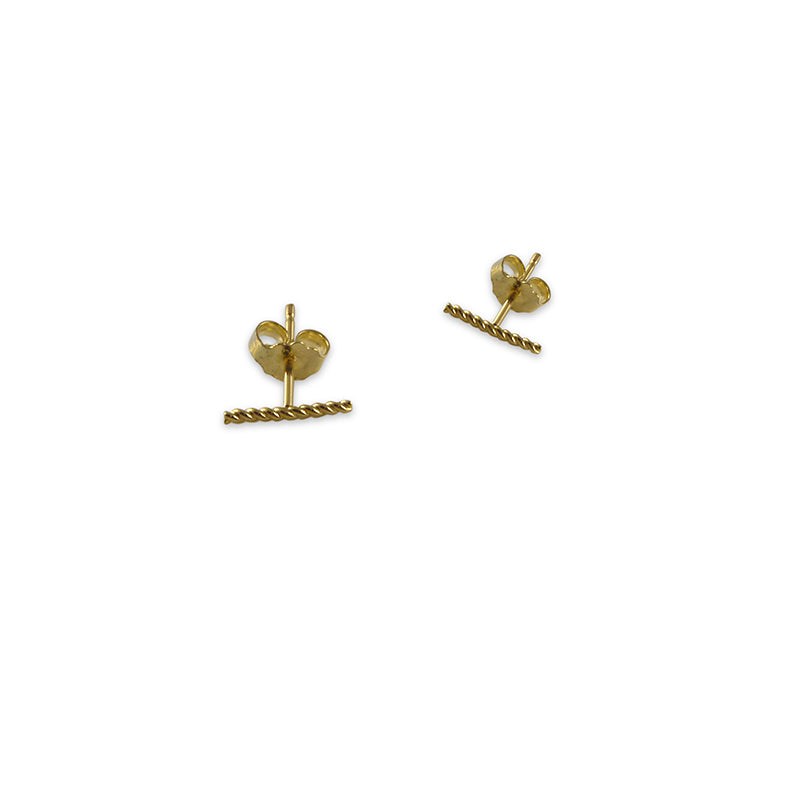 CZ Bar (1cm) Gold Sterling Silver Studs