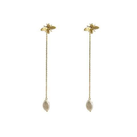 Pearl Gold Sterling Silver Pull-Thru Chain Earrings