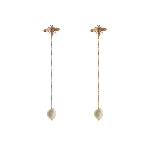 Pearl Rose Gold Sterling Silver Pull-Thru Chain Earrings