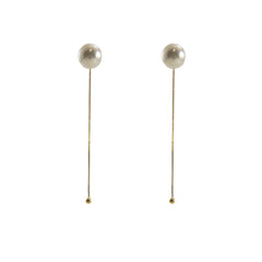 Big Pearl Gold Sterling Silver Pull-Thru Chain Earrings