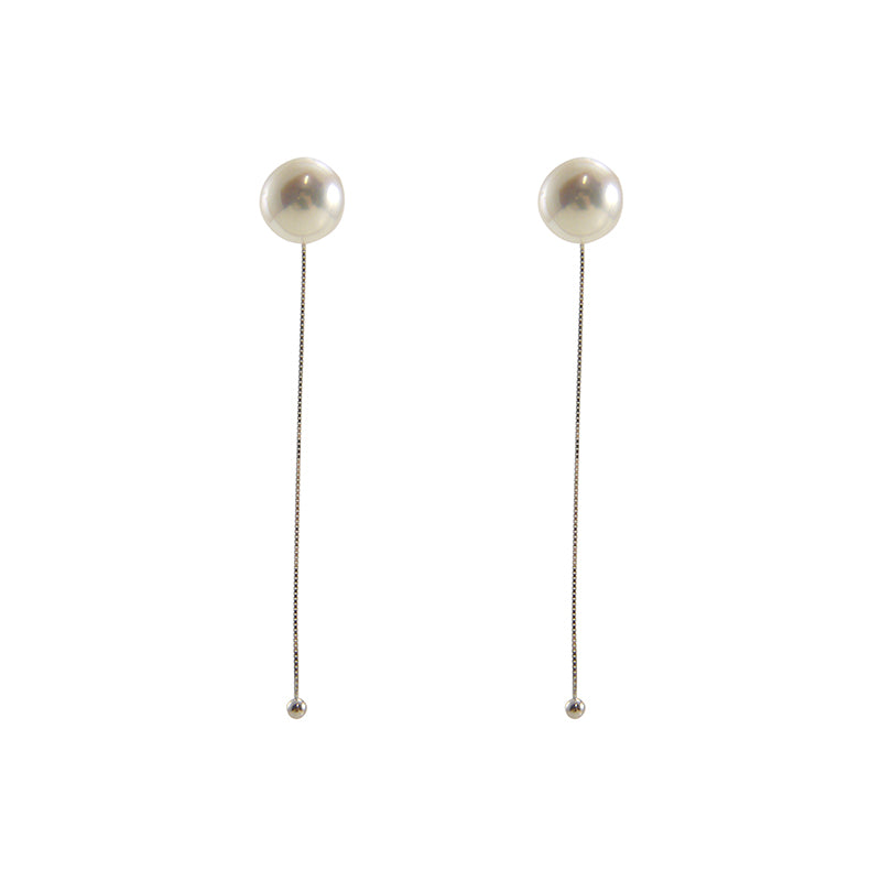 Big Pearl Sterling Silver Pull-Thru Chain Earrings
