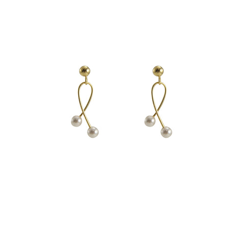 Twisted Wire With Duo Pearl Gold Sterling Silver Pearl Studs