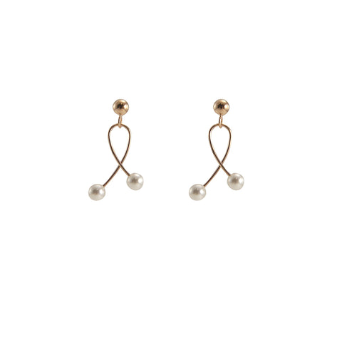 Twisted Wire With Duo Pearl Rose Gold Sterling Silver Pearl Studs