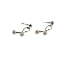 Twisted Wire With Duo Pearl Sterling Silver Pearl Studs