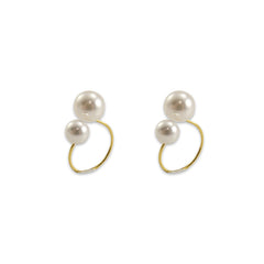 Shinny stone Gold Sterling Silver circle earring