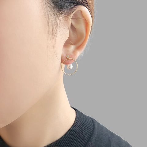 Pearl with Gold Sterling Silver Circle ring Studs