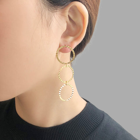Triple circle Gold Sterling Silver Pull-Thru Chain Earrings