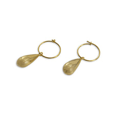 Triple circle Sterling Gold Pull-Thru Chain Earrings