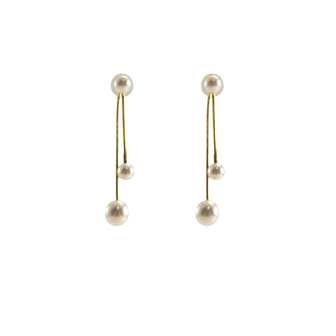 Mini Pearl Gold Sterling Silver Pull-Thru Chain Earrings