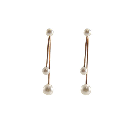 Mini Pearl Rose Gold Sterling Silver Pull-Thru Chain Earrings