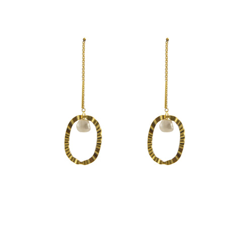 Pearl with Oval Gold Sterling Silver Pull-Thru Chain Earrings