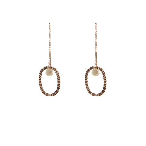 Pearl with Oval Rose Gold Sterling Silver Pull-Thru Chain Earrings