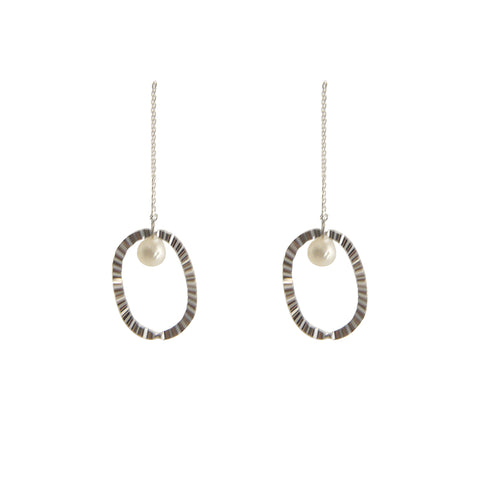 Pearl with Oval Sterling Silver Pull-Thru Chain Earrings