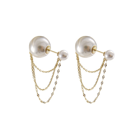 Big Pearl with Gold chain Sterling Silver earrings
