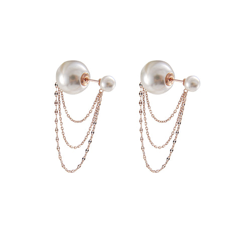Big Pearl with Rose Gold chain Sterling Silver earrings