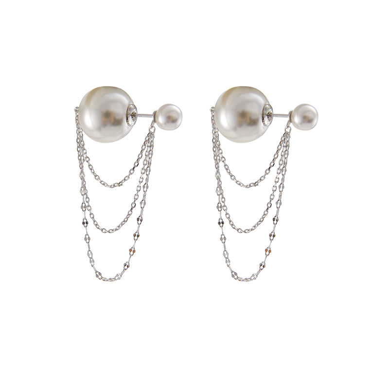 Big Pearl with Silver chain Sterling Silver earrings