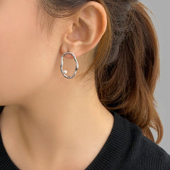 Irregular loop with Pearl Sterling Silver Studs
