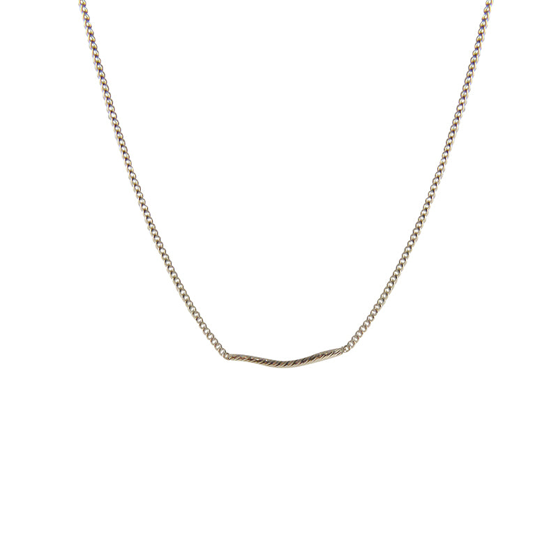 Thin Twist Bar Sterling Silver Short Necklace