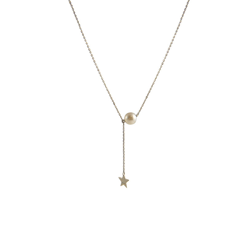 Large Pearl & Star Sterling Silver Short Necklace