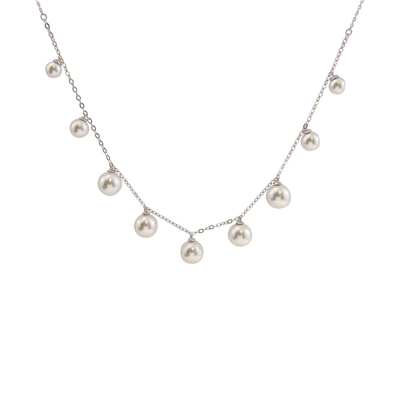 Big Pearl Chain Pearl Sterling Silver Choker
