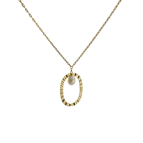 Oval with Pearl Gold sterling silver necklace