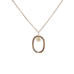 Oval with Pearl Rose Gold sterling silver necklace