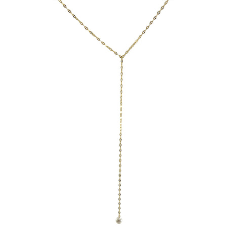 Pearl with Gold Sterling Silver Pull-Thru Chain Necklace