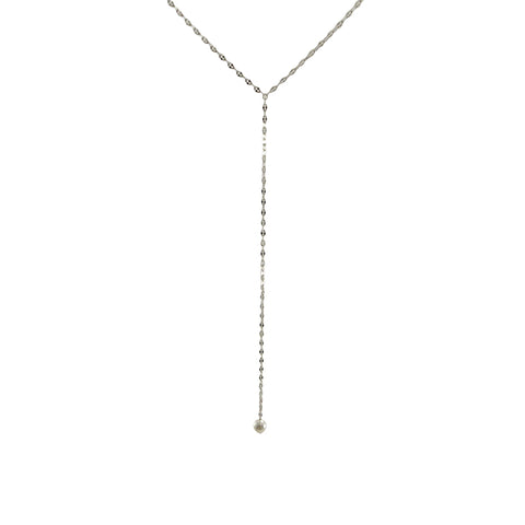Pearl with Sterling Silver Pull-Thru Chain Necklace
