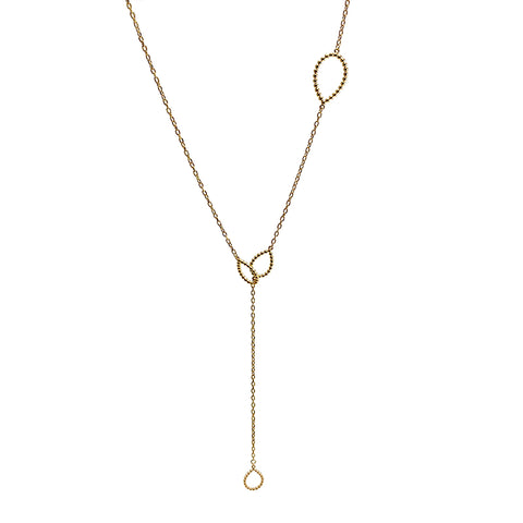 Cutout Waterdrop Adjustable Gold Sterling Silver Necklace