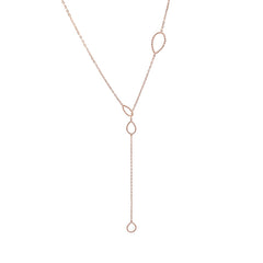 Cutout Waterdrop Adjustable Rose Gold Sterling Silver Necklace