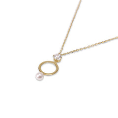 Cutout Circle Pearl and Crystal Gold Sterling Silver Necklace