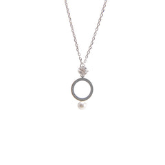 Cutout Circle Pearl and Crystal Sterling Silver Necklace