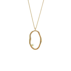 Irregular loop with Pearl Gold Sterling Silver Necklace