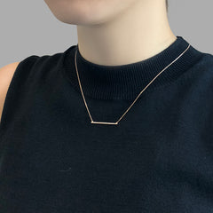 Horizontal Bar With CZ Rose Gold Sterling Silver Short Necklace